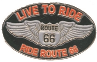 "0475-0066-LIVE LIVE TO RIDE, RIDE ROUTE 66 hat pin. 1.25"" wide x .75"" tall hat pin with rubber clasp. Individually poly bagged. Carded for retail rack display. © Rusty Bolt, © Bill Riley, © Holm Patches"