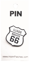 "ILLINOIS ROUTE 66 hat pin. Pin is .875"" with a rubber clasp. It is packaged on a card in a bag."