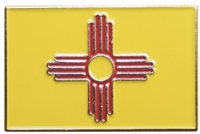 "0475-2554- New Mexico state flag soft enamel hat pin - .875"" tall x 1.25"" wide - plastic clasp - individually poly bagged. +$.10 each if carded for a display rack."