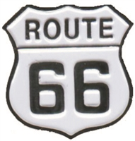 "0475-6876 - ROUTE 66 pin. .875"" tall x .875"" wide pin with plastic clasp. Individually poly bagged. Individually poly bagged or carded for a retail store display rack (+$.10)."