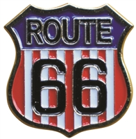 "ROUTE 66 US flag background. .875"" tall x .875"" wide pin with rubber clasp. Individually poly bagged. Also available carded for a retail display rack (+$.10). © Route 66 USA"
