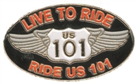 LIVE TO RIDE, RIDE TO LIVE US 101 hat pin