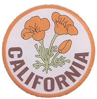 "0475-CA-09 - CALIFORNIA poppy pin. 1.25"" diameter. Epoxy coated printed pin. Plastic clasp. Individually poly bagged or carded for a retail store display rack (+$.10)."
