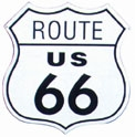 "0600-6876 - ROUTE 66 Aluminum sign. 13.5"" wide x 13.875"" tall. Made in USA. Predrilled holes for hanging. Shrink wrapped."