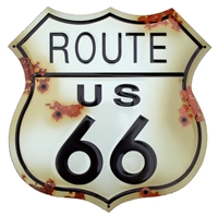 ROUTE US 66 sign: bullet holes/rust