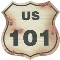US 101 sign with rust/bullet holes - 0600-8103
