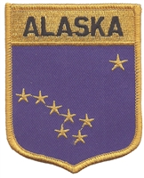 1052 - ALASKA large flag shield uniform or souvenir embroidered patch, AK
