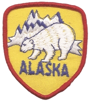 1053 - ALASKA polar bear shield souvenir embroidered patch, AK