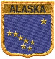 1055 - ALASKA medium flag shield uniform or souvenir embroidered patch, AK