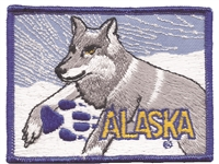 1067 - ALASKA wolf souvenir embroidered patch, AK