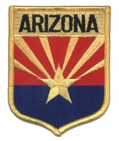 1102 - ARIZONA large flag shield uniform or souvenir embroidered patch, AZ, ARIZ