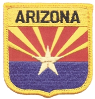 1105 - ARIZONA medium flag shield uniform or souvenir embroidered patch, AZ, ARIZ