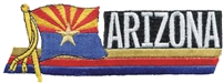 1106 - ARIZONA wavy flag ribbon souvenir embroidered patch, AZ, ARIZ