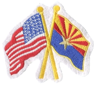 1115 - Arizona & US flags crossed uniform or souvenir embroidered patch, AZ, ARIZ