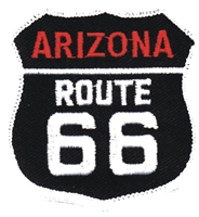 ARIZONA ROUTE 66 on black twill souvenir embroidered patch, AZ, ARIZ