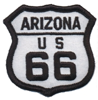 ARIZONA US 66 on white twill souvenir embroidered patch, AZ, ARIZ, route 66
