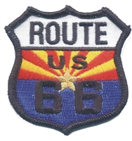 1117 - ARIZONA US 66 on AZ flag souvenir embroidered patch, AZ, ARIZ