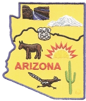 ARIZONA map souvenir patch. Grand Canyon, San Francisco Peaks, Route 66 highway, Oatman burro, roadrunner, sun, & cactus.