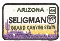 SELIGMAN ARIZONA embroidered license plate patch.