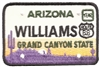 WILLIAMS embroidered ARIZONA license plate patch.