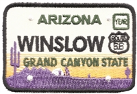 WINSLOW ARIZONA embroidered license plate patch.
