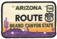 ROUTE embroidered ARIZONA license plate patch.