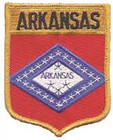 1152 - ARKANSAS large flag shield embroidered patch for souvenir or uniform