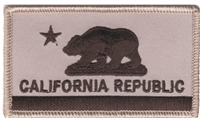 1204-58/01 - CALIFORNIA REPUBLIC flag grey on black uniform or souvenir embroidered patch