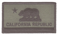 1204-OD - CALIFORNIA REPUBLIC olive drab flag uniform or souvenir embroidered patch