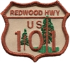REDWOOD HWY US 101 embroidered souvenir patch