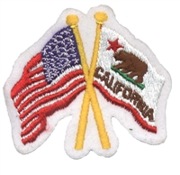 1215 - California & US flags crossed uniform or souvenir embroidered patch