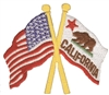 California & US flags crossed cut out souvenir or uniform  embroidered patch