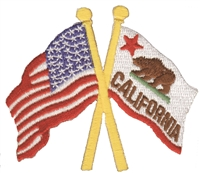1215C - California & US flags crossed cut out souvenir or uniform  embroidered patch