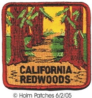 "1216 - CALIFORNIA REDWOODS 3"" souvenir embroidered patch"