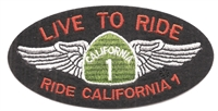 LIVE TO RIDE - RIDE CALIFORNIA 1 embroidered patch