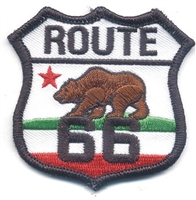 ROUTE 66 on CALIFORNIA bear flag souvenir embroidered patch