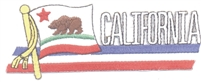 1246 - CALIFORNIA wavy flag ribbon souvenir embroidered patch