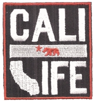 CALI LIFE embroidered souvenir patch. Patches have an iron-on backing & are carded for a display rack for retailers.