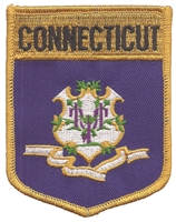 1302 - CONNECTICUT large flag shield embroidered patch for souvenir or uniform, CT