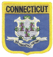 CONNECTICUT medium flag shield embroidered patch