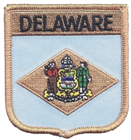 1355 - DELAWARE medium flag shield uniform or souvenir embroidered patch