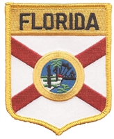 1452 - FLORIDA large flag shield embroidered patch for souvenir or uniform, FL