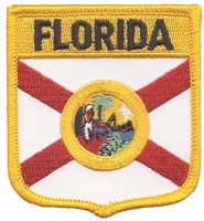 1455 - FLORIDA medium flag shield uniform or souvenir embroidered patch, FL