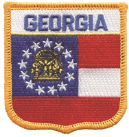 1505 - GEORGIA medium flag shield uniform or souvenir embroidered patch, GA
