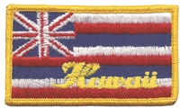 1554-H - Hawaii flag with Hawaii souvenir embroidered patch, HI