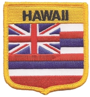 1555 - HAWAII medium flag shield souvenir or uniform embroidered patch, HI