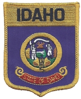 1602 - IDAHO large flag shield embroidered patch for souvenir or uniform, ID