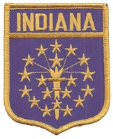 1702 - INDIANA large flag shield embroidered patch for souvenir or uniform, IN, IND
