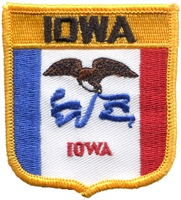 1755 - IOWA medium flag shield uniform or souvenir embroidered patch