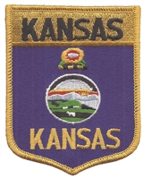 1802 - KANSAS large flag shield uniform or souvenir embroidered patch, KS